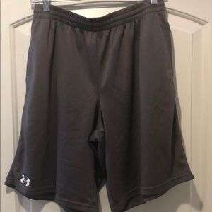 Gray under armor workout shorts.